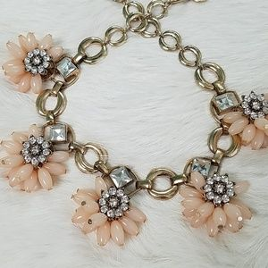 Gold Tone Peach Floral Statement Necklace